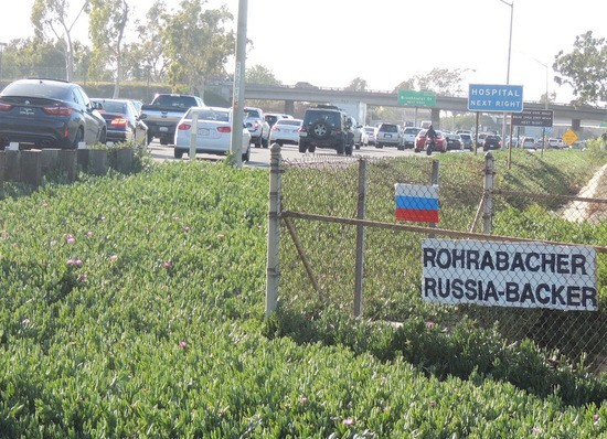 Rohrabacher Russia-Backer sign with Russian flag on I-405