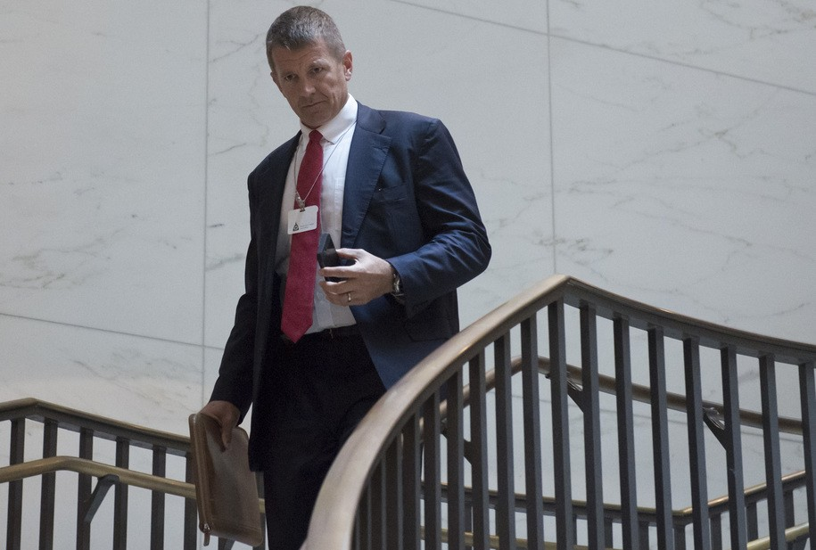Erik Prince, former Navy Seal and founder of private military contractor Blackwater USA, arrives to testify during a closed-door House Select Intelligence Committee hearing on Capitol Hill in Washington, DC, November 30, 2017. / AFP PHOTO / SAUL LOEB        (Photo credit should read SAUL LOEB/AFP/Getty Images)