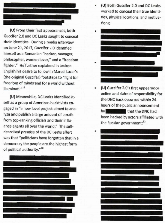 Sample page from House Intelligence report on Russia