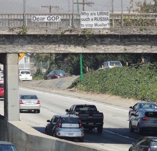 Dear GOP sign over Pasadena Fwy.