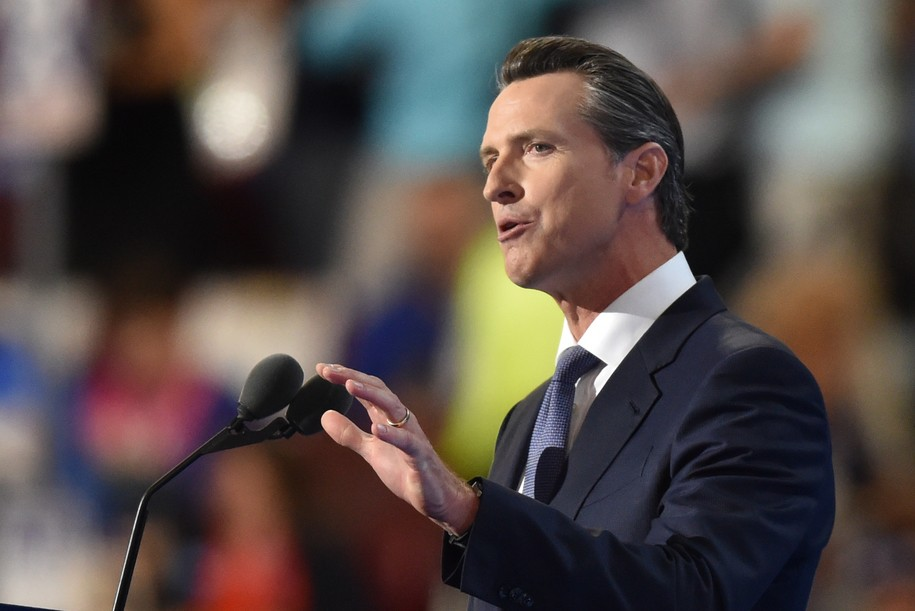 California Lieutenant Governor Gavin Newsom speaks during Day Three of the Democratic National Convention at the Wells Fargo Center in Philadelphia, Pennsylvania, July 27, 2016. / AFP / Nicholas Kamm (Photo credit should read NICHOLAS KAMM/AFP/Getty Images)