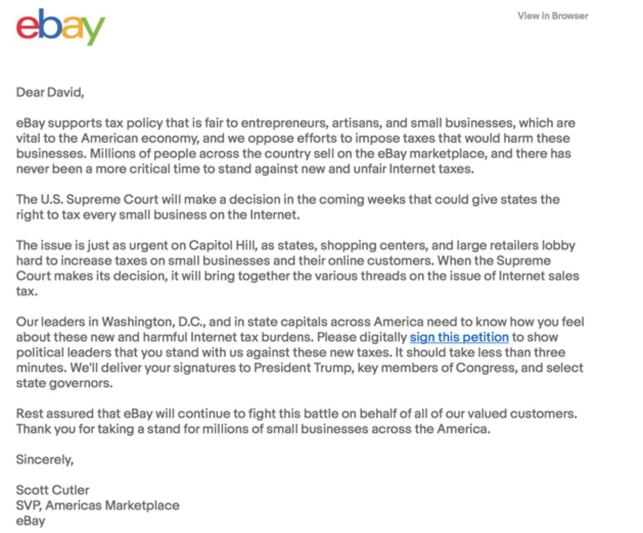 Ebay Begs Me To Fight Against Internet Taxes I Tell Them To Shove It