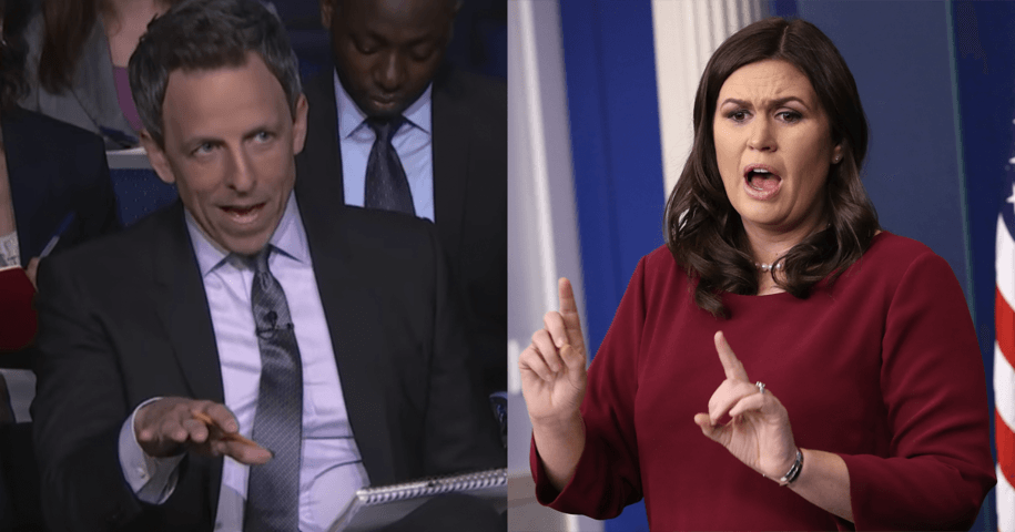 Watch Seth Meyers finally get Sarah Huckabee Sanders to tell the truth