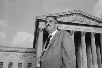 Thurgood Marshall in front of the Supreme Court
