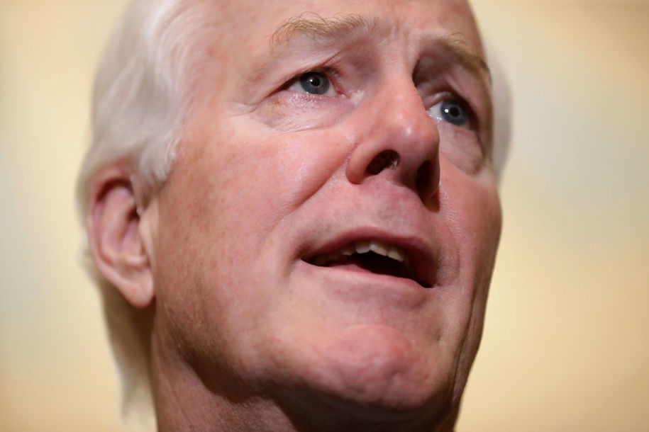 WASHINGTON, DC - MAY 15:  Senate Majority Whip John Cornyn (R-TX) talks to reporters following the weekly Senate Republican policy luncheon at the U.S. Capitol May 15, 2018 in Washington, DC. U.S. President Donald Trump joined Senate Republicans and addressed the group about the robust economy and the opening of the new U.S. embassy in Jerusalem.  (Photo by Chip Somodevilla/Getty Images)