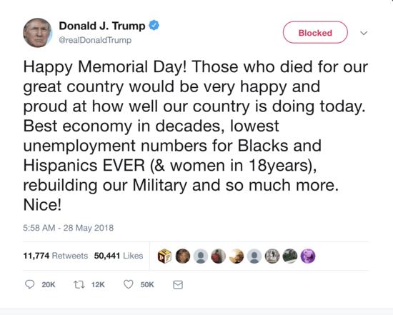 Screen grab of a Trump tweet