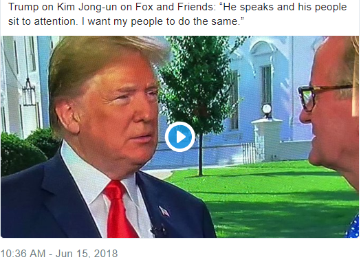 On Friday, with Fox & Friends on the WH lawn, Trump met people he loves, erect and at attention