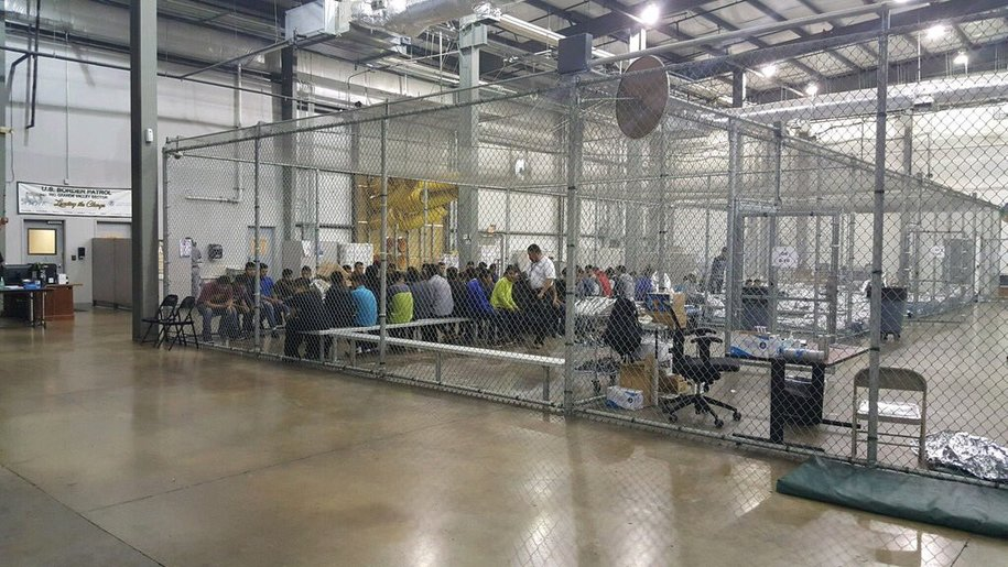 Border processing center in McAllen, Texas,