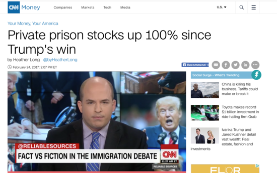 Private prison stocks up 100% with Donald Trump victory
