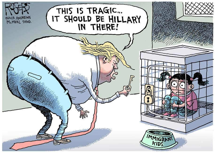 Trump examines children in cages, wishes it were Hillary