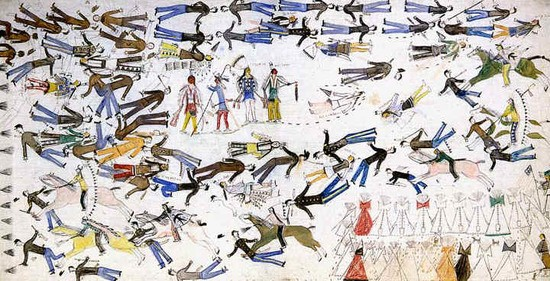 This depiction of the Battle of the Greasy Grass or Little Big Horn was done by Kicking Bear, aka  Matȟó Wanáȟtaka, an Ogala Lakota who was a first cousin of Crazy Horse (Tȟašúŋke Witkó) who, at the request of Frederic Remington in 1898, painted the battle as he remembered it.