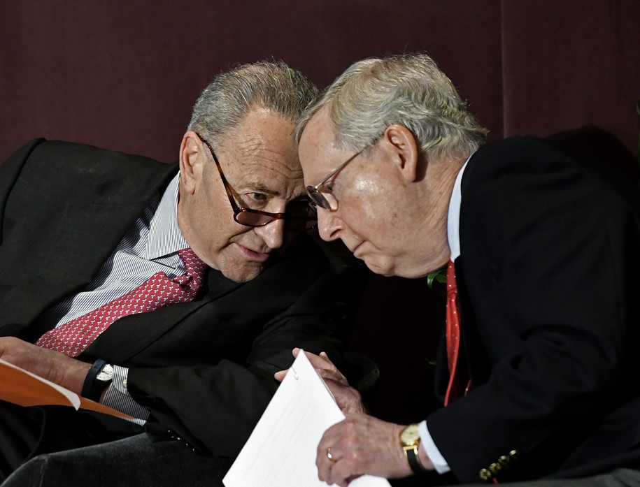 Losing the shutdown fight, a desperate Mitch McConnell tries to deflect heat onto Schumer