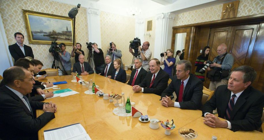 Russian Foreign Minister Sergey Lavrov (L) listens to US Senator Richard Shelby (3rd R) during his meeting with US congressional delegation as US Ambassador to Russia Jon Huntsman Jr. attends the talks in Moscow, Russia, on July 3, 2018. (Photo by Alexander Zemlianichenko / POOL / AFP)        (Photo credit should read ALEXANDER ZEMLIANICHENKO/AFP/Getty Images)