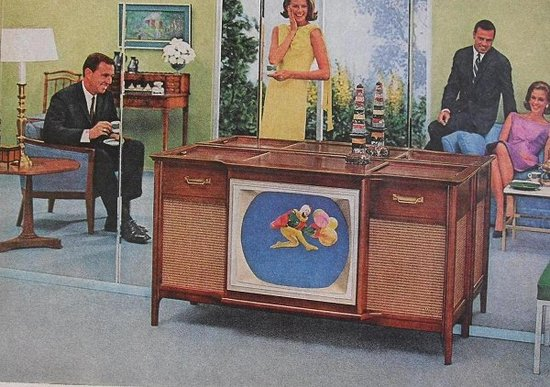 Vintage ad for a cabinet TV