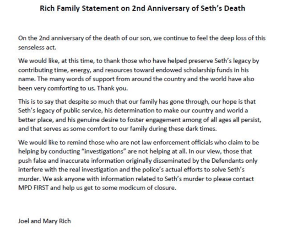 Screenshot of statement by parents of Seth Rich on the anniversary of his murder