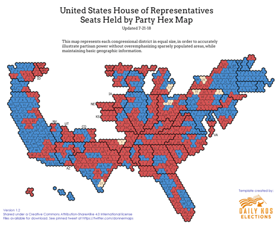 Current Congressional Hex Map When We Examine Party Power By