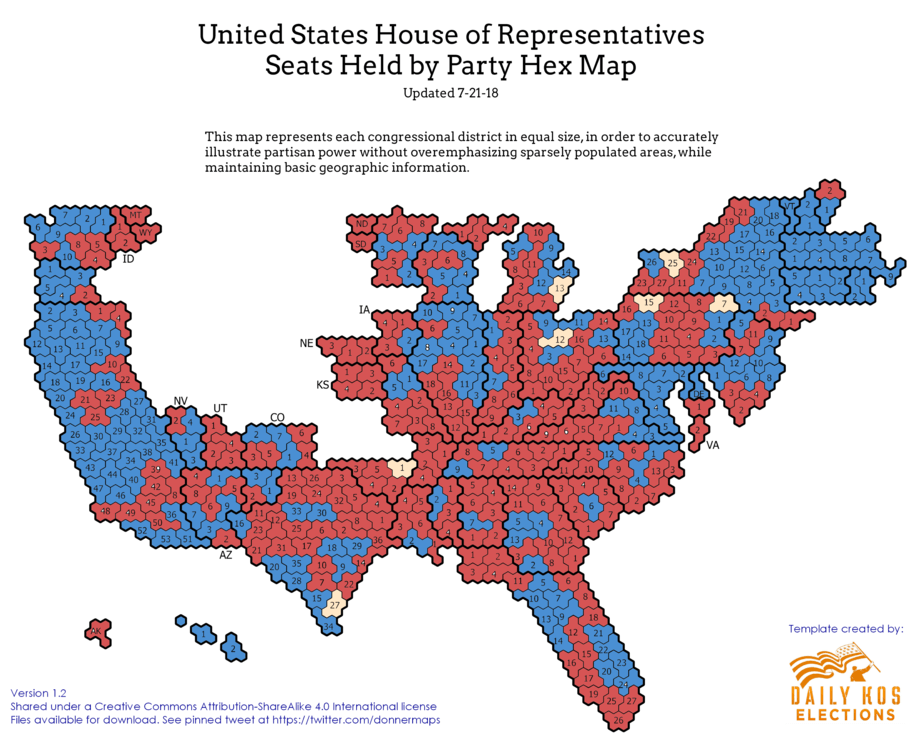 Current Congressional Hex Map: When We Examine Party Power by ...