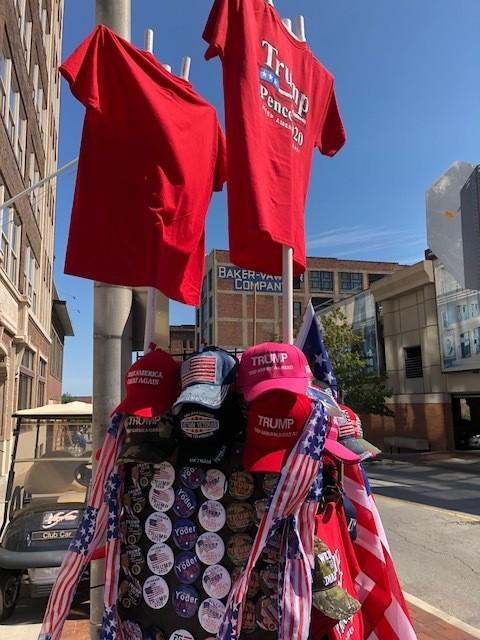 Donald Trump merchandise near a Trump appearance in Kansas City