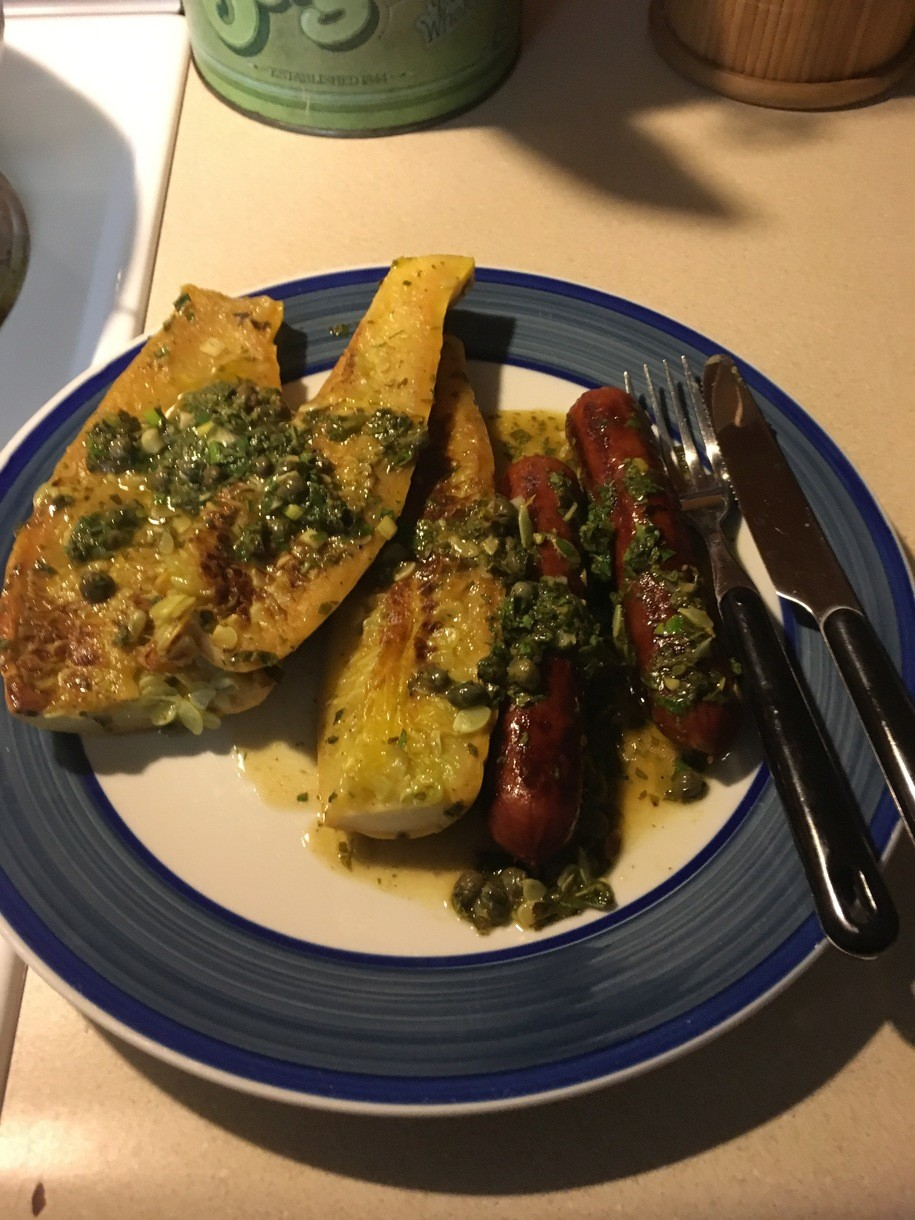 What's for Dinner? v13.49: Grilled Squash & Sausages w/Sauce Verte (lots & lots of herbs!)