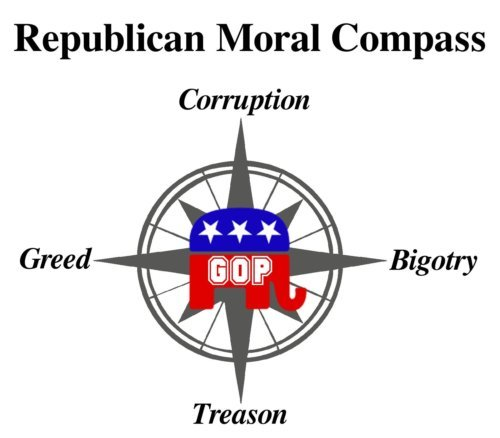 GOP moral compass of corruption, greed, bigotry, and treason. Creative Commons license.