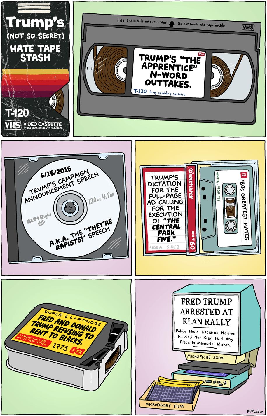 Cartoon: Trump's hate tape stash