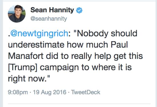Sean Hannity retweets Newt Gingrich