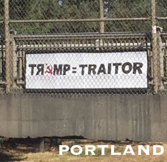 Trump = Traitor sign over I-5