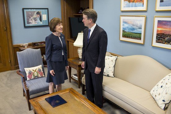 WASHINGTON, DC - AUGUST 21: Supreme Court Nominee Brett Kavanaugh meets with Sen. Susan Collins (R-ME) in her office on Capitol Hill on August 21, 2018 in Washington, DC. The confirmation hearing for Judge Kavanaugh is set to begin September 4. (Photo by Zach Gibson/Getty Images)