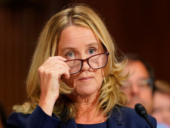 WASHINGTON, DC - SEPTEMBER 27:  Christine Blasey Ford gives testimony before the U.S. Senate Judiciary Committee at the Dirksen Senate Office Building on Capitol Hill September 27, 2018 in Washington, DC. Blasey Ford, a professor at Palo Alto University and a research psychologist at the Stanford University School of Medicine, has accused Supreme Court nominee Brett Kavanaugh of sexually assaulting her during a party in 1982 when they were high school students in suburban Maryland.  (Photo by Andrew Harnik-Pool/Getty Images)