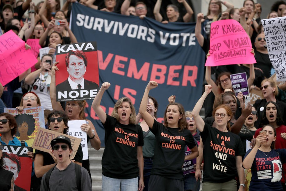 WASHINGTON, DC - OCTOBER 06: Hundreds of protesters occupy the center steps of the East Front of the U.S. Capitol after breaking through barricades to demonstrate against the confirmation of Supreme Court nominee Judge Brett Kavanaugh October 06, 2018 in Washington, DC. The Senate is scheduled to vote on Kavanaugh's confirmation later in the day. (Photo by Chip Somodevilla/Getty Images)