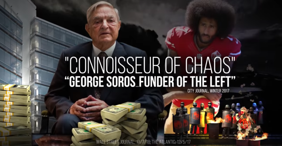 Screenshot from NRCC attack ad in MN-01 featuring photo of George Soros behind stacks of dollar bills.