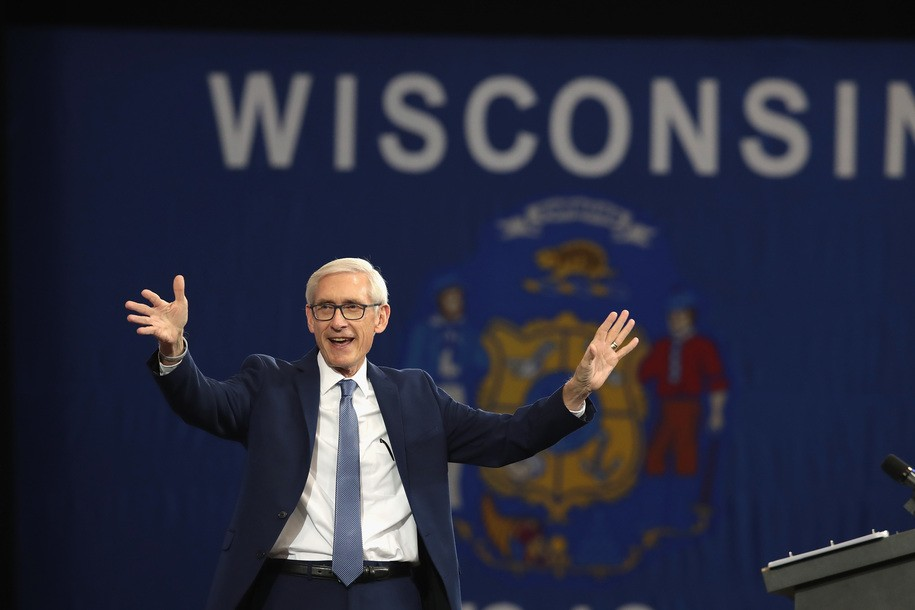 MILWAUKEE, WI - OCTOBER 26: Tony Evers, Democratic candidate for governor of Wisconsin, speaks at a rally in support of Wisconsin Democrats at North Division High School on October 26, 2018 in Milwaukee, Wisconsin. Former President Barack Obama also spoke at the event. (Photo by Scott Olson/Getty Images)