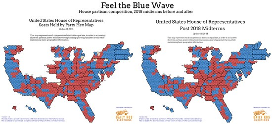 Your post-2018 United States House of Representatives in hex map