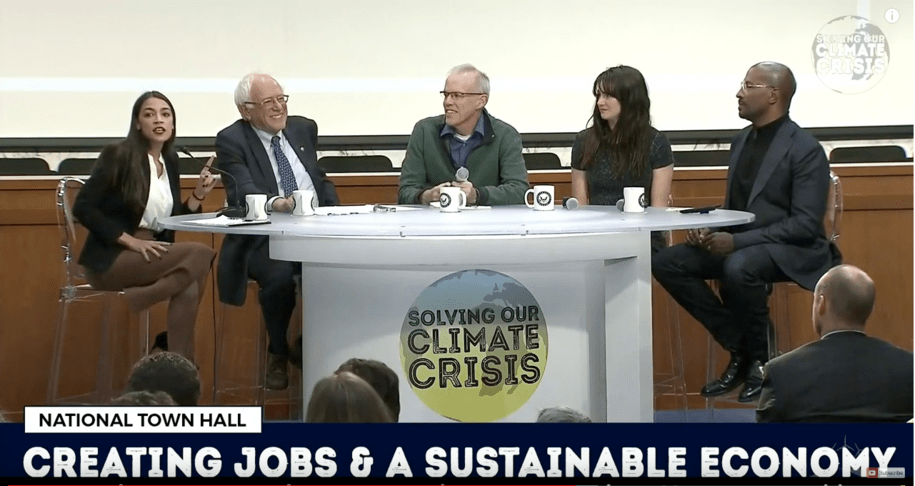 Climate Crisis Town Hall, Dec. 4, 2018. The five people around the table: Alexandria Ocasio-Cortez, Bernie Sanders, Bill McKibben, Shailene Woodley, and Van Jones.