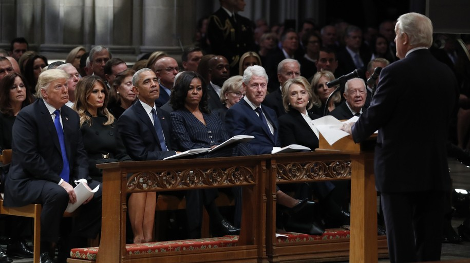 WASHINGTON, D.C. - DECEMBER 05: (AFP OUT)  (L-R) President Donald Trump, first lady Melania Trump, former President Barack Obama, former first lady Michelle Obama, former President Bill Clinton, former Secretary of State Hillary Clinton, and former President Jimmy Carter listen as former Canadian Prime Minister Brian Mulroney speaks during a state funeral for former President George H.W. Bush at the National Cathedral December 05, 2018 in Washington, DC. A WWII combat veteran, Bush served as a member of Congress from Texas, ambassador to the United Nations, director of the CIA, vice president and 41st president of the United States. (Photo by Alex Brandon - Pool/Getty Images)