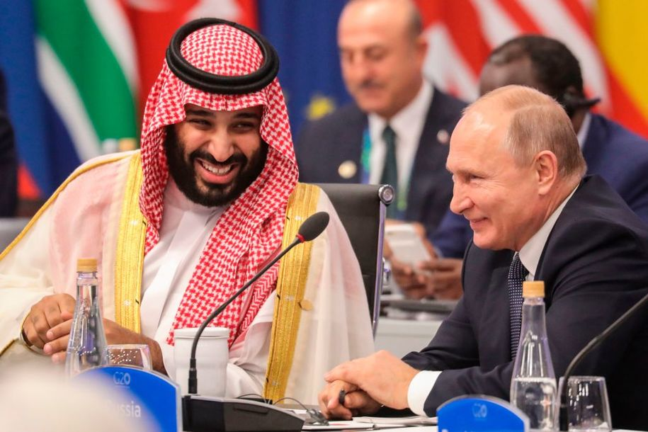 Russia's President Vladimir Putin (R) and Saudi Arabia's Crown Prince Mohammed bin Salman attend the G20 Leaders' Summit in Buenos Aires, on November 30, 2018. - Global leaders gather in the Argentine capital for a two-day G20 summit beginning on Friday likely to be dominated by simmering international tensions over trade. (Photo by ludovic MARIN / AFP) (Photo credit should read LUDOVIC MARIN/AFP/Getty Images)