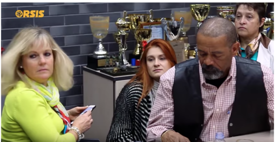 David Clarke and Maria Butina at Russian rifle manufacturer Orsis in Moscow