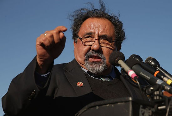 WASHINGTON, DC - NOVEMBER 12:  Rep. Raul Grijalva (D-AZ) joins veterans, servicemembers and aspiring recruits to call on Congress and President Barack Obama  to move forward with immigration reform at the U.S. Capitol November 12, 2014 in Washington, DC. The news conference participants called on Obama to 'go bold and go big' and to use his executive authority to reform immigratoin if Congress could not get the job done.  (Photo by Chip Somodevilla/Getty Images)
