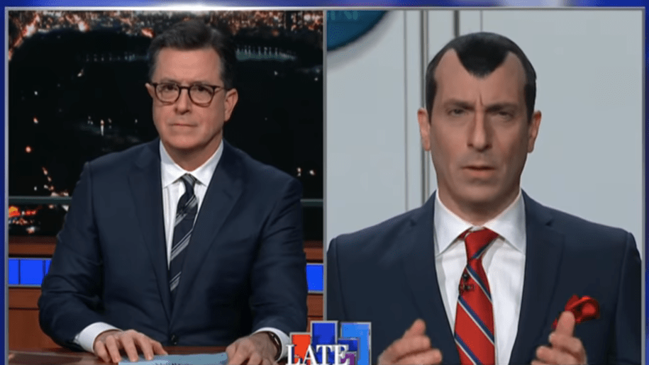 Colbert Hilariously Gigs Stephen Miller for His Glued on Pepe Le Pew Pelt.