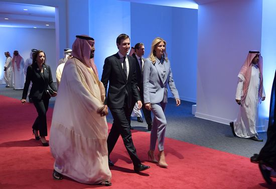 CORRECTION - White House senior advisor Jared Kushner and Ivanka Trump arrive at the Global Center for Combating Extremist Ideology shortly before its inauguration in Riyadh on May 21, 2017. / AFP PHOTO / MANDEL NGAN / The erroneous mention[s] appearing in the metadata of this photo by MANDEL NGAN has been modified in AFP systems in the following manner: [Jared Kushner] instead of [Jared Trump]. Please immediately remove the erroneous mention[s] from all your online services and delete it (them) from your servers. If you have been authorized by AFP to distribute it (them) to third parties, please ensure that the same actions are carried out by them. Failure to promptly comply with these instructions will entail liability on your part for any continued or post notification usage. Therefore we thank you very much for all your attention and prompt action. We are sorry for the inconvenience this notification may cause and remain at your disposal for any further information you may require.        (Photo credit should read MANDEL NGAN/AFP/Getty Images)