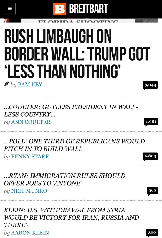 Screen capture of Breitbart home page 12-19-2018