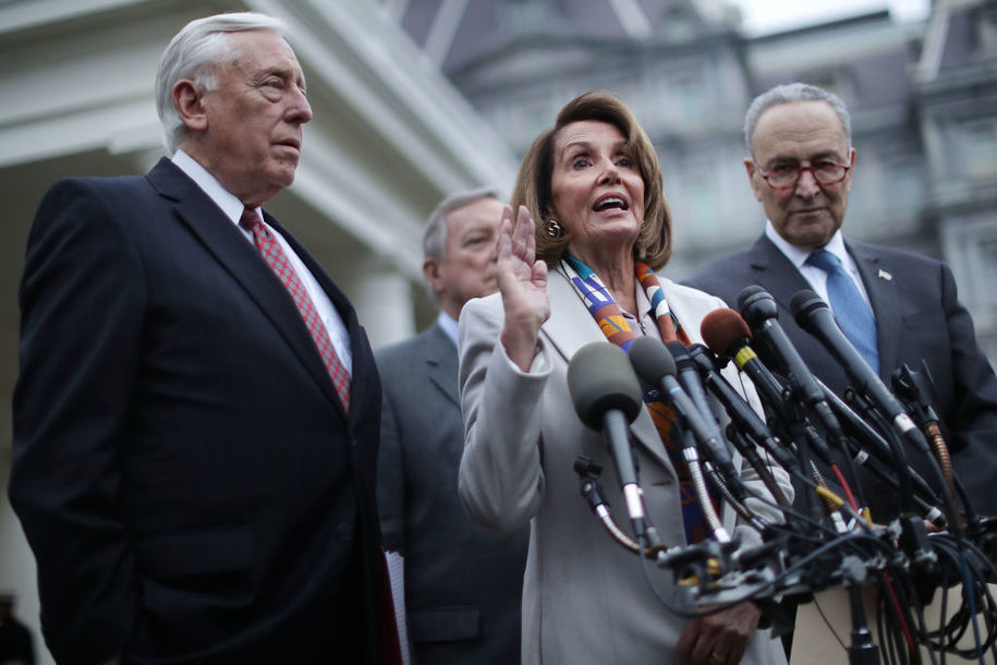 WASHINGTON, DC - JANUARY 02: (L-R) House Minority Whip Steny Hoyer (D-MD), Senate Minority Whip Richard Durbin (D-IL), House Speaker designate Nancy Pelosi (D-CA) and Senate Minority Leader Charles Schumer (D-NY) talk to journalists following a meeting with U.S. President Donald Trump, Homeland Security Secretary Kirstjen Nielsen and fellow members of Congress about border security at the White House January 02, 2019 in Washington, DC. Trump and House Democrats are no closer to a deal on funding for Trump's border wall and reopening parts of the federal government that have been shuttered for the past 12 days. (Photo by Chip Somodevilla/Getty Images)