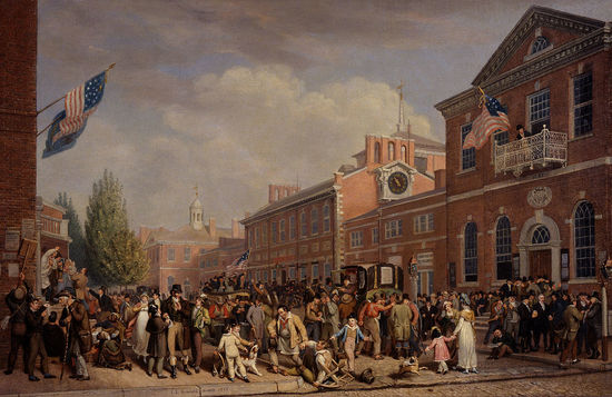Image of crowds on election day in 1815.