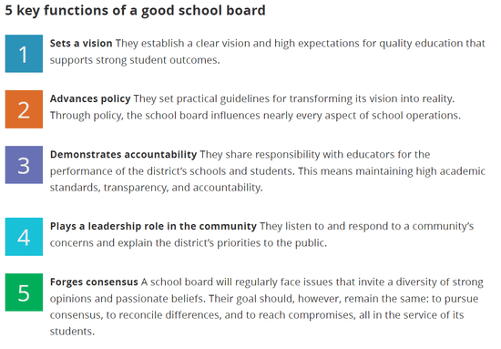 The key items in a successful school board