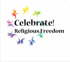 """Black words """"Celebrate! Religious Freedom Day"""" superimposed over a circle of free-form, dynamic, rainbow-colored dancing or flying figure-pairs on a white background. The color of each half pair is slightly different from the color of the other half. [Religious Freedom Day]"""
