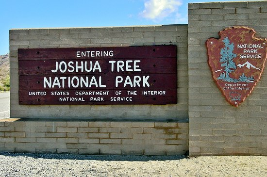 Color photo of current entrance sign to Joshua Tree National Park