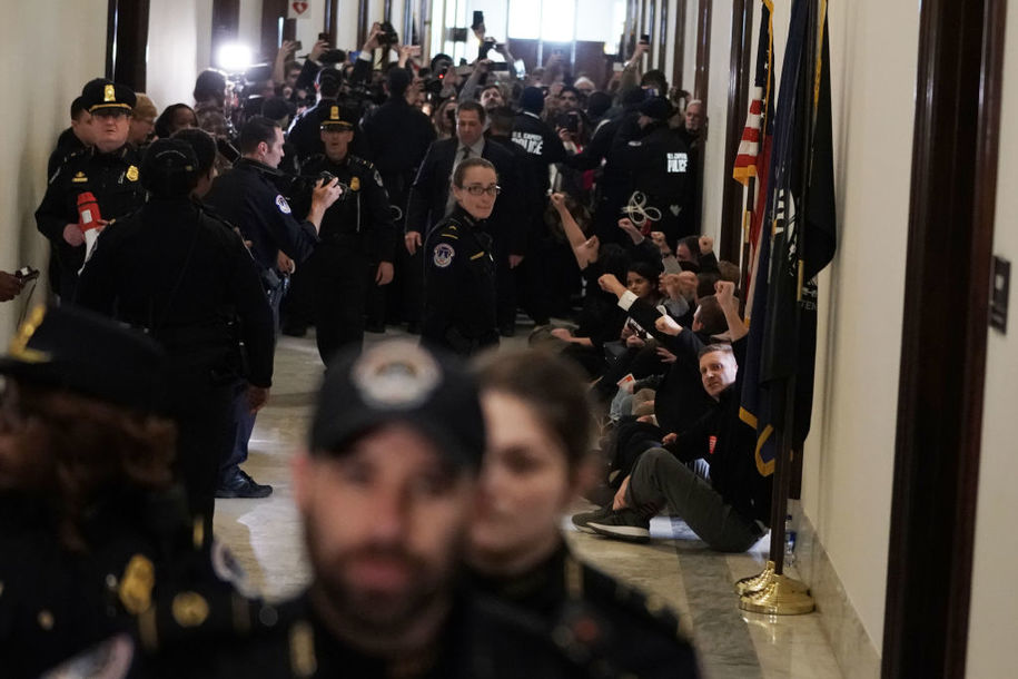 Mass arrest of federal employees outside Sen. McConnell's office: 'Where is Mitch? We want to work!'