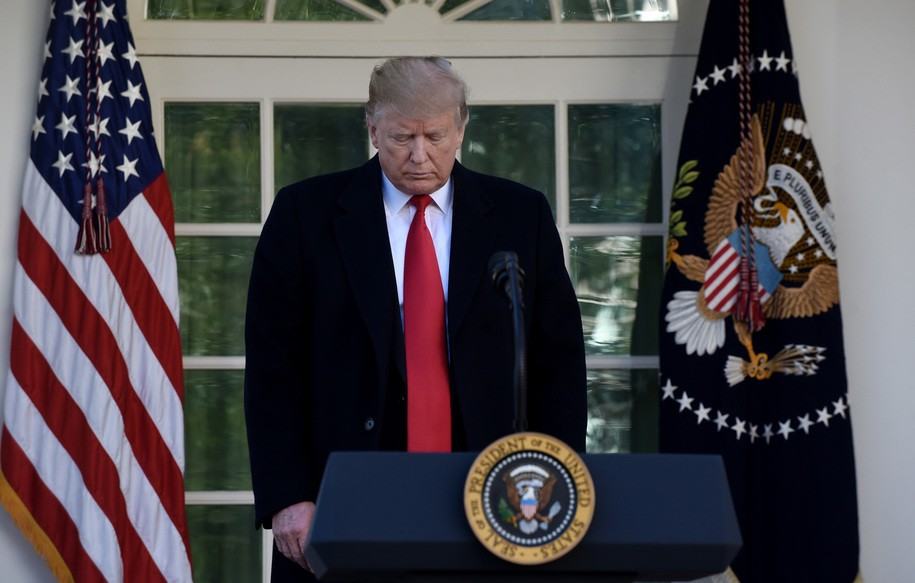 WASHINGTON, DC - JANUARY 25: (AFP OUT) US President Donald Trump makes a statement announcing that a deal has been reached to reopen the government through Feb. 15 during an event in the Rose Garden of the White House January 25, 2019 in Washington, DC. The White House announced they've reached a deal with Congress to end the shutdown and open the federal government for three weeks to give time to work out a larger immigration and border security deal. (Photo by Olivier Douliery-Pool/Getty Images)