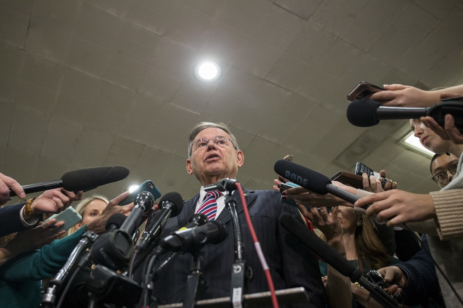 WASHINGTON, DC - NOVEMBER 28: Sen. Bob Menendez (D-NJ) speaks to the press after receiving a briefing from U.S. Secretary of Defense Jim Mattis and U.S. Secretary of State Mike Pompeo on developments in Saudi Arabia on Capitol Hill on November 28, 2018 in Washington, DC. (Photo by Zach Gibson/Getty Images)
