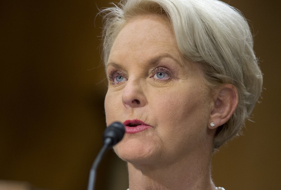 Cindy McCain, co-chair of the Human Trafficking Advisory Council at the McCain Institute and wife of US Senator John McCain, Republican of Arizona, testifies during a Senate Foreign Relations committee hearing about modern slavery on Capitol Hill in Washington, DC, February 24, 2016. / AFP / SAUL LOEB (Photo credit should read SAUL LOEB/AFP/Getty Images)